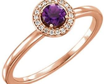 Amethyst Diamond Halo 14K Rose Gold Ring