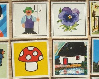 """Vintage Memory cards, set of 21,  5.5x5.5 cm / 2.2""""x2.2"""", 1981, Ravensburger, cardboard, craft material  [d]"""