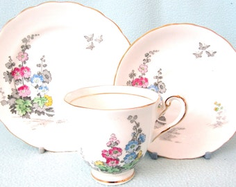 Vintage Collectible Tea Trio, Art Deco, New Chelsea Staffs, Tea Cup Saucer and Side Plate, Floral Design, Afternoon Tea, Alicia Pattern