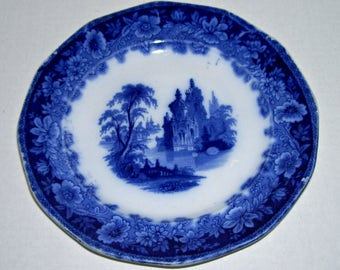 Antique Clementson Ironstone Leipsic Flow Blue Plate 8 1/4""