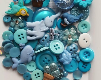 Beautiful Blues Buttons and Embellishments