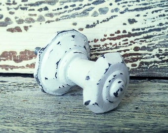 Drawer Pull, Shabby Chic Pull, Octagonal Shape Drawer Knob, Decorative Dresser Handle, White Distressed Cabinet Hardware,