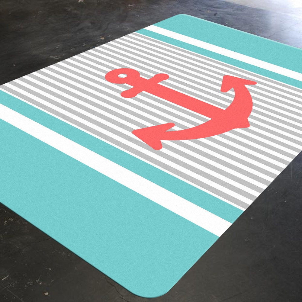 Anchor Rugs: Nautical Anchor Nautical Rug Coral And Turquoise Decor