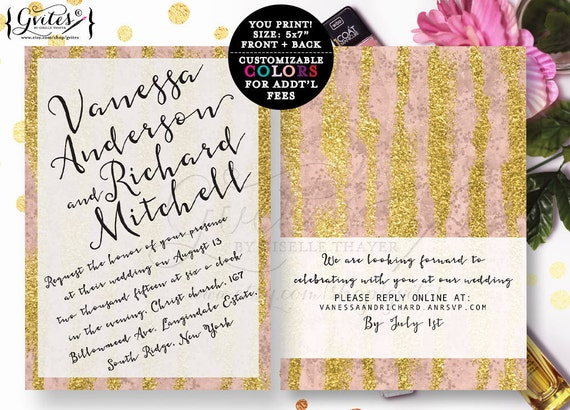 Rose gold wedding invitation, modern wedding invites, gold glitter invitations, designer fashion, glitz and glam, bling, bridal invites, 5x7