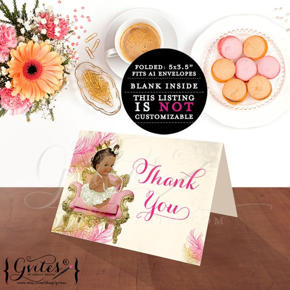 "Thank you cards baby shower, princess african american baby girl, thank you note template, birthday thank {MED/BRUNETTE} 5x3.5"" 2 Per/Sheet"