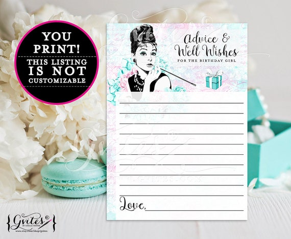 """Birthday Advice cards, breakfast at blue and co wishes for the birthday girl games, blue Audrey Hepburn party printables, 5x7"""" 2/Per Sheet."""