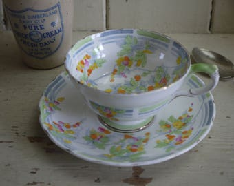 Vintage Teacup and Saucer - Hand Painted