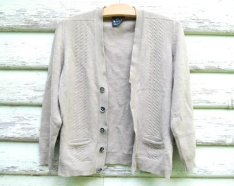 70s Vintage Beige Brown Cable Knit Wool Cardigan Retro Button Up Sweater Knitted Grunge Hippie Vtg 1970s Size M-L