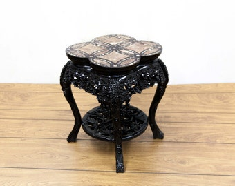Chinese Inlayed Mother of Pearl Marble Table
