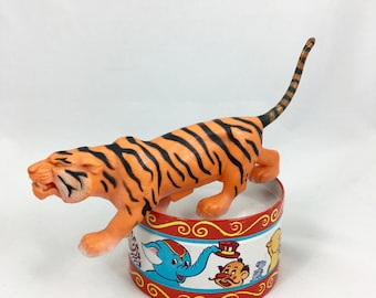Vintage Marx Safari tiger with wheels~Adventure Set~ hard plastic collectible toy from MilkweedVintageHome