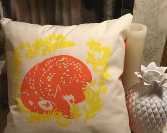 Handmade yellow and orange fawn cushion