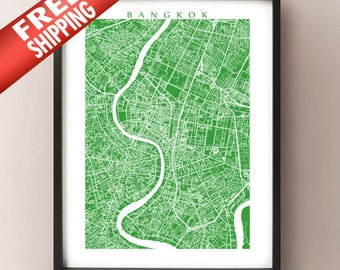 Bangkok City Map Art Print - Krung Thep Maha Nakhon