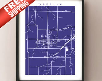 Oberlin Map - Ohio Poster Print