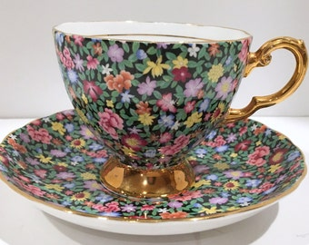 Mille Fleurs Tuscan Tea Cup and Saucer, Chintz Tea Cups, Tea Set, Antique Teacups, Teacup and Saucer, English Bone China Tea Cups, Black Cup