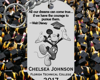 Mickey Mouse, Graduation Keychain Gift, Engraved and Personalized Free!