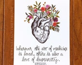 Wherever the art of medicine is loved, there is also a love of humanity/ art print/ Hippocrates/ watercolor/ quote/ 8x10 inches