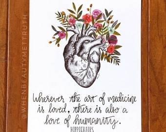 Wherever the art of medicine is loved, there is also a love of humanity/ art print/ Hippocrates/ watercolor/ quote