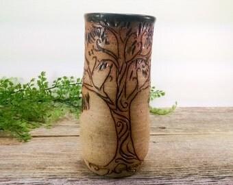 Fairy Oak Tree Mug 18 oz - Charcoal Black - Wheel Thrown and Hand Sculpted Coffee Cup