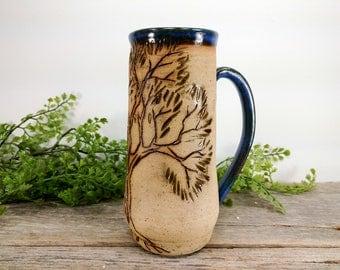 Oak Tree Mug 18 oz - Bright Blue - Wheel Thrown and Hand Sculpted Coffee Cup