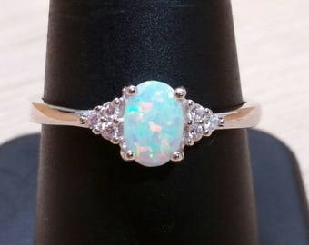 Sterling Silver Opal Ring Engagement Ring FREE Gift Box FREE Shipping Code Promise Ring Anniversary Gift For Wife October Birthstone Jewelry