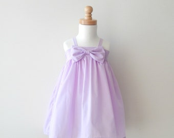 HARPER DRESS – Girls Bow Dress – Purple Easter Dress – Girls Easter Dress – Girls Spring Dress – Bow Dress – Lilac Toddler Bow Dress