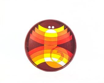 Metal tray brand Simel, Vich. Spain. Lithograph designed by Studio Baqués. 70's