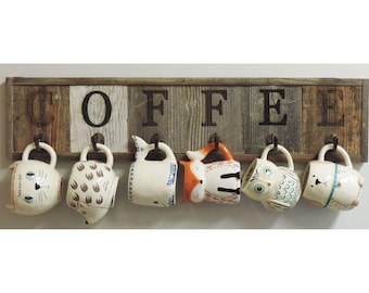 "Barnwood Coffee Mug Rack Wall-Mount Coffee Cup Holder  31.5"" X 7.25"""