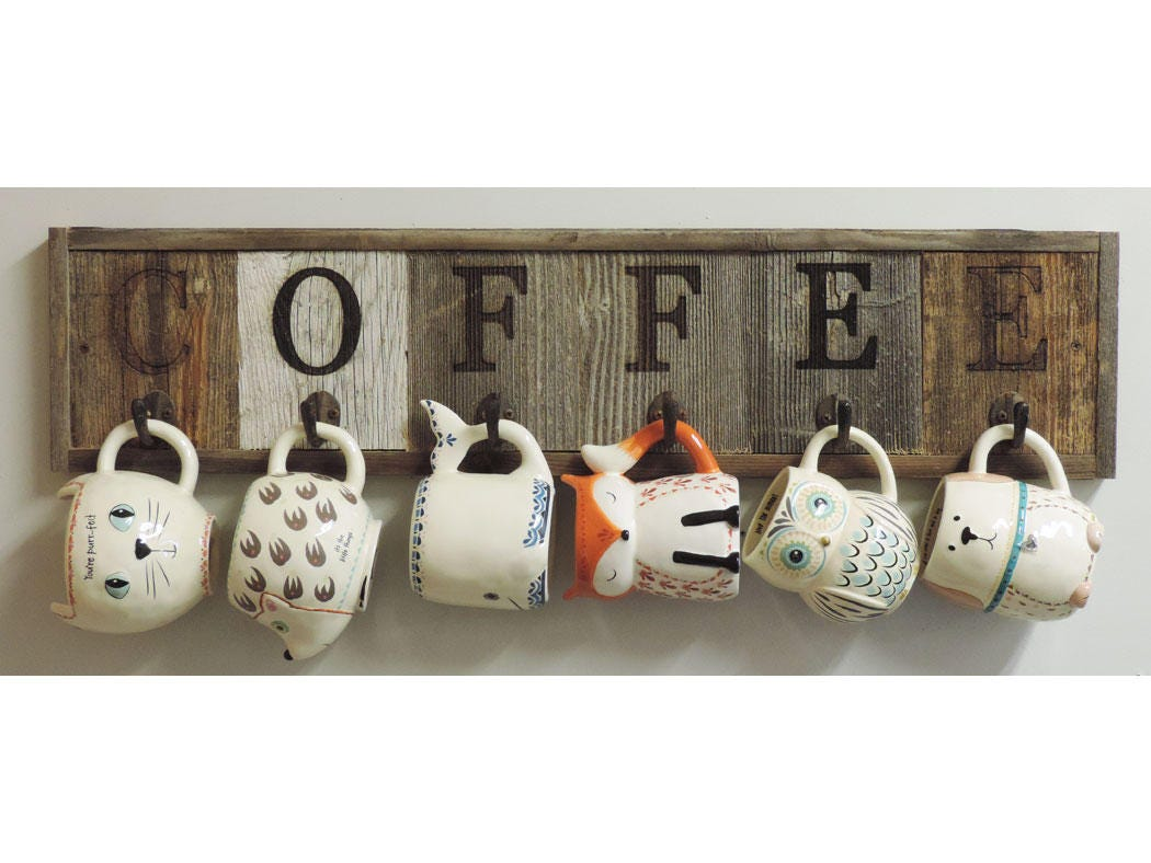 Barnwood Coffee Mug Rack Wall-Mount Coffee Cup Holder 31.5