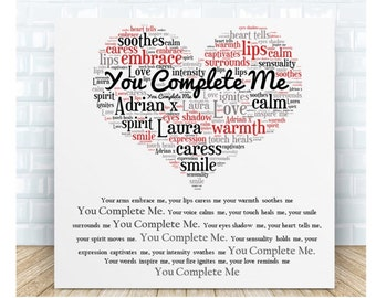 You Complete Me Love Poem Ceramic Plaque. Personalised Gift. Birthday, Christmas, Valentine's Day, Anniversary