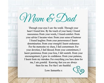 Personalised Mum & Dad Poem Plaque