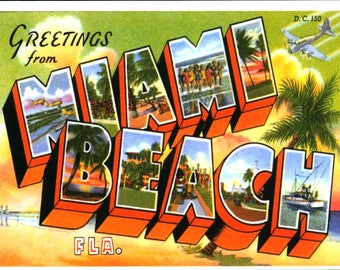 Miami Beach FL, Large Letter Greeting REPRO Postcard R029318