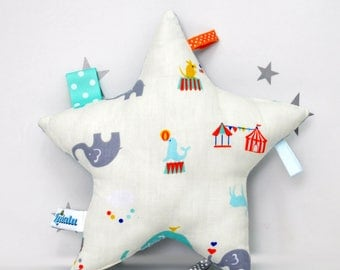 Star Pillow, Baby Tag Toy, Stuffed Toy, Tag Toy, Sensory Toy, Baby Boy Gift, Star Plush, Circus Nursery, Star Baby Toy, Baby Toy  Cream Blue