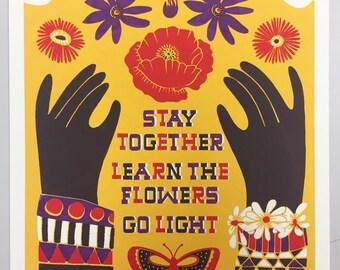 For The Children Screen Print // Hand Printed Silkscreen Poster // Gary Snyder // Poppies, Butterflies, Hands