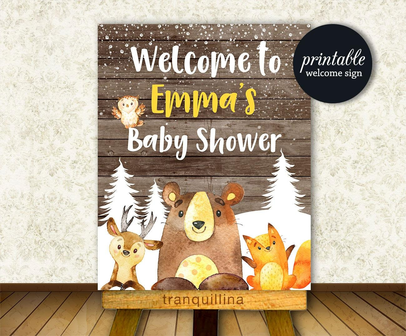 baby shower welcome sign woodland welcome sign by tranquillina