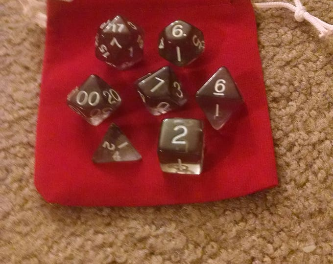 Smoky Haze - 7 Die Polyhedral Set with Pouch