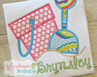 Personalized Beach Bucket & Shovel Applique Shirt or Onesie Boy or Girl