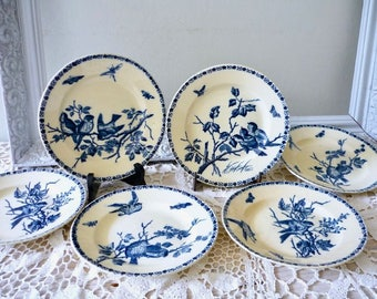 Set of six  dinner plates, antique French transferwarewith birds, ironstone plates, Terre de Fer dinner plates