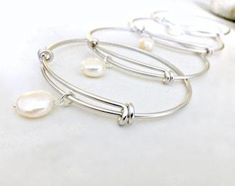 Pearl Bangle pearl jewelry pearl bracelet freshwater pearl bracelet june birthstone jewelry Silver Bangle Beach Jewelry Beach Wedding Pearl