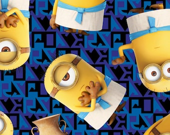 Egyptian Minions Fabric Royal/Deep Blue From Quilting Treasures 100% Cotton Quilting Fabric