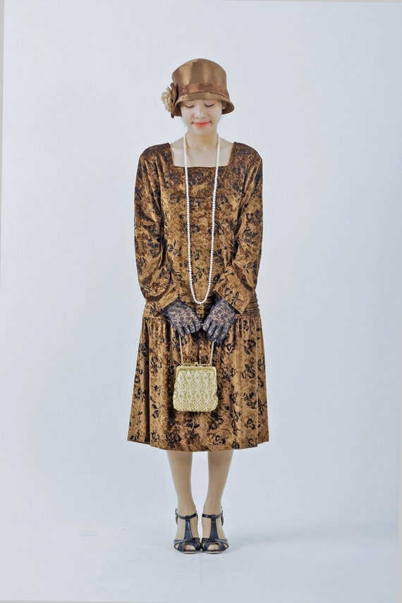 New 1920s Day Dresses & Tea Dresses 1920s dress with long sleeves velvet Great Gatsby dress brown flapper dress Downton Abbey dress brown 20s drop wait dress $130.00 AT vintagedancer.com