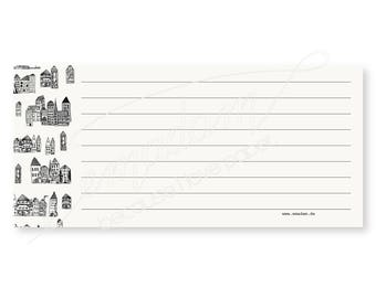 Notepads, memo pad, stationery, pads, bloc, to do list, list, writing pad, office supplies - Notepad-Set - Ruled with house pattern
