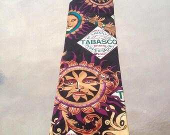 Tabasco Tie, Tabasco Necktie, Tabasco Collectible Tie, Tabasco Sun tie, Tabasco Hot Sauce Tie, Mens Gifs, psychedelic tie, Mens Tie