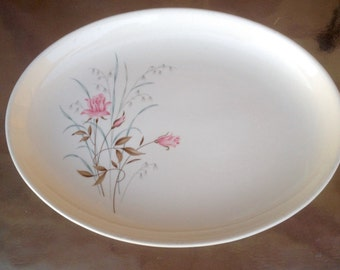 Rose platter, White Porcelain Platter, Floral Platter, Porcelain Platter, White China Platter, Rose Serving dish, Fine China Platter