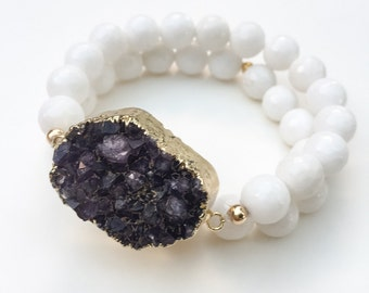 Amethyst Geode Cluster Bracelets, set of 2 white beads