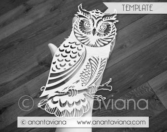 Papercut Template Commercial | Owl on branch | Commercial Use | Design by Anantaviana