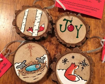 Handpainted Wood Disk Ornaments