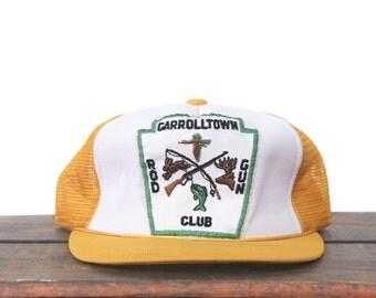 Vintage Carroltown Rod & Gun Club Hunting Fishing Sportsman Trucker Hat Snapback Baseball Cap Patch