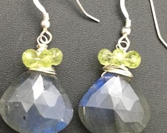 Labradorite Earrings, Peridot Earrings, OOAK Earrings, Artisan Gemstone Earrings, Sterling Earrings, Earrings under 100