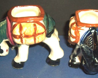 2 Vintage Occupied Japan china toothpick holders, donkeys