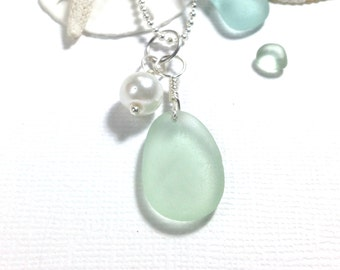 Sea Glass Pendant Sea Glass Necklace Seafoam Green Genuine Beach Glass Garden Leaf Seaside